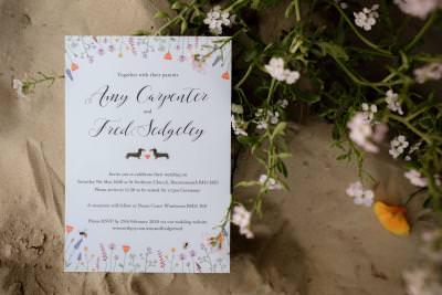 Wild flowers and dachshund wedding invitation