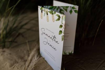 Foliage and festoons tri fold wedding invitation