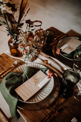 Rustic bohemian wedding menu and place card inspiration