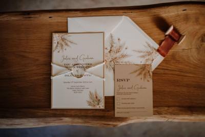 Rustic bohemian wedding invitation set