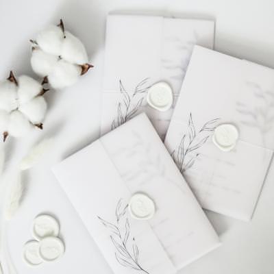 Monochrome line art floral wedding invitation