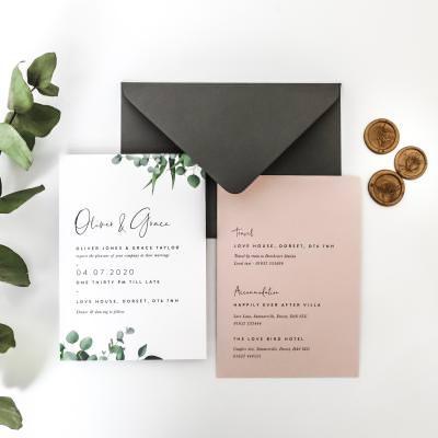 Eucalyptus foliage wedding invitation