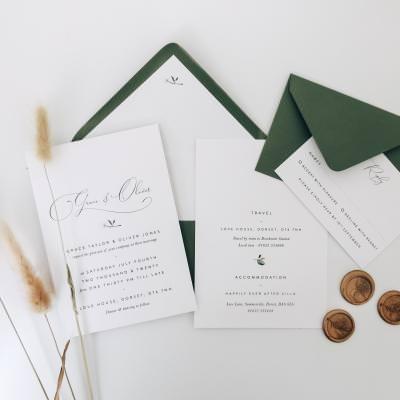Romantic script font wedding invitation subtle floral graphics