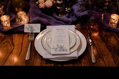 Blue flowers on wedding menu