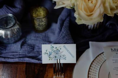 Blue floral wedding place card