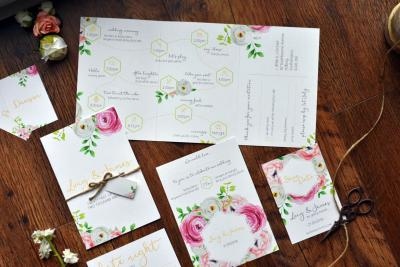 Bright and feminine floral wedding invitations