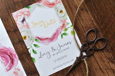 Bright and feminine floral wedding save the date