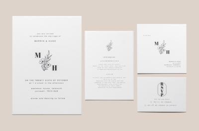 Monogrammed floral wedding invitation set