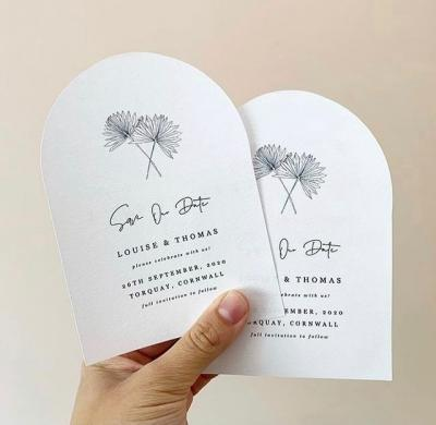 Modern minimalist floral wedding invitations