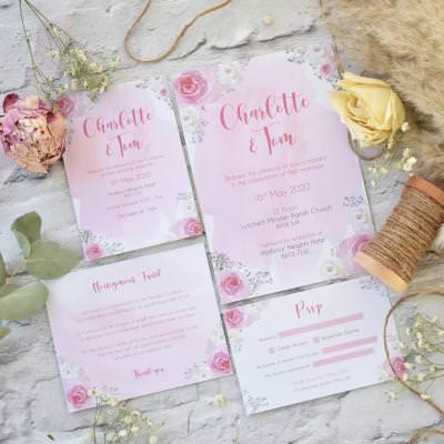 Pink feminine watercolour floral wedding invitation set