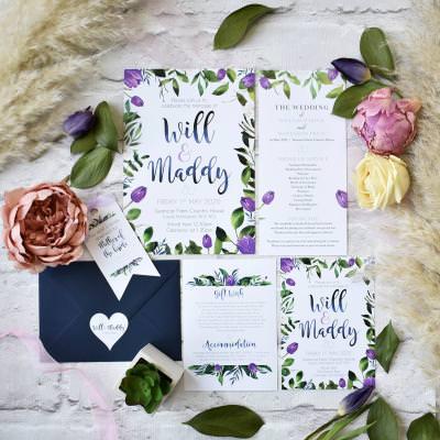 Purple tulip floral wedding invitation set