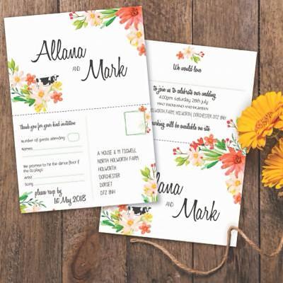 Postcard floral wedding invite