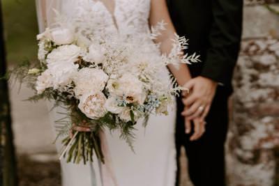 White and foliage wedding bouquet