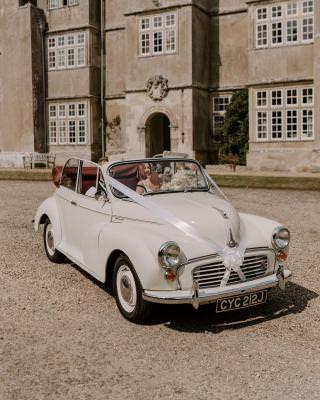 Vintage wedding car Dorset