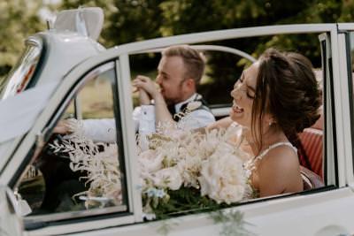 Vintage Morris Minor wedding car