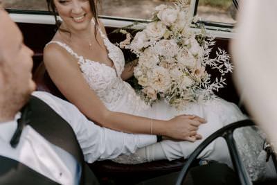 Vintage convertible Morris Minor wedding car