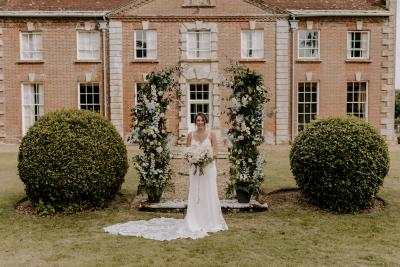 Deconstructed floral arch wedding inspiration