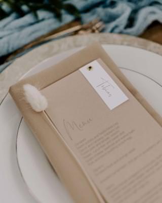 Elegant rustic wedding menu