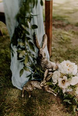 Rustic wedding décor finishing touches - gold hares