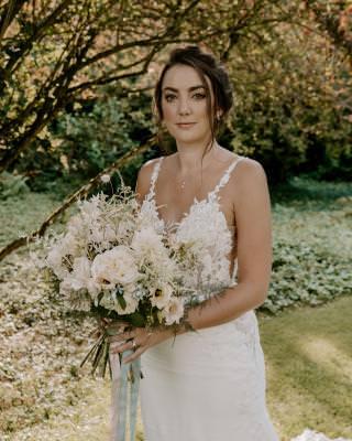 Elegant bridal updo and makeup looks