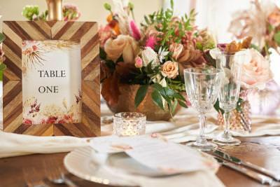 Boho wedding styling cut glass wine glasses