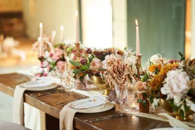 Low level wedding centrepieces