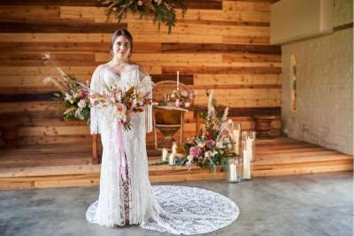 Dakota, by Willowby boho wedding dress - split leg lace train
