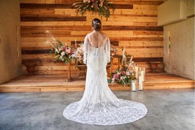 Dakota, by Willowby boho wedding dress Stephanie Frances Bridal, Dorset