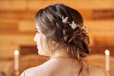 Boho bridal hair vine in loose updo