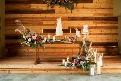 Rustic boho wedding cake display - wedding cake table ideas