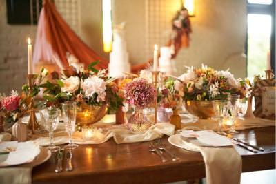 Luxury boho wedding table styling