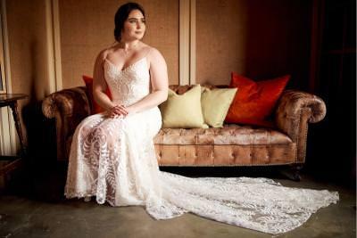 Dakota, by Willowby boho wedding dress - strappy v neck style