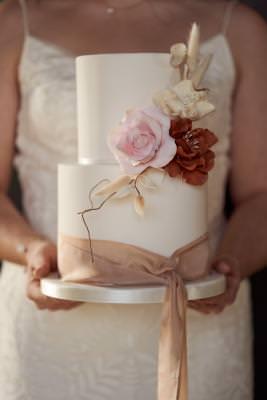 Two tier wedding cake sugar flowers