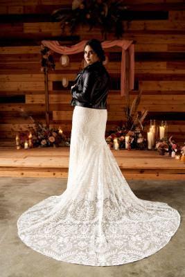 Dakota, boho wedding dress, teamed with leather jacket