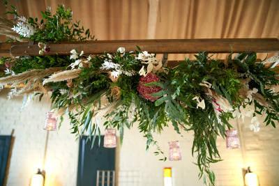 Wedding flowers - hanging ladder installation