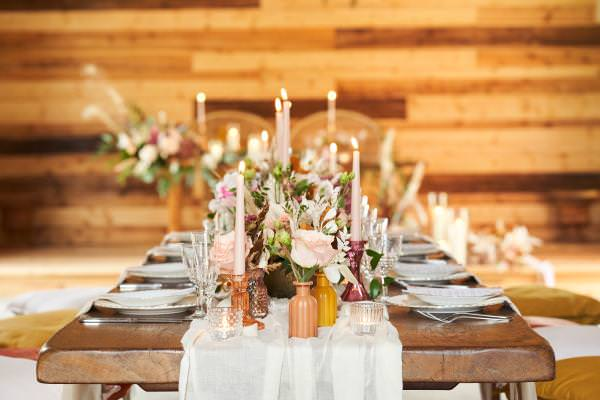 Luxury, woodsy bohemian vibes tablescape